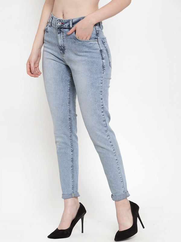 Women Blue Denim Solid Jeans