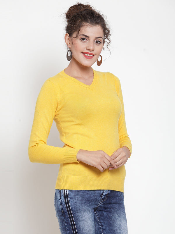 Women Dark Mustard V-Neck Full Sleeve Skeevi Pullover