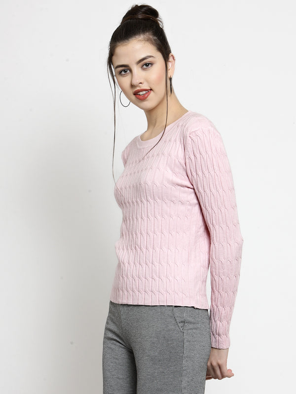Women Solid Pink Round Neck Skeevi