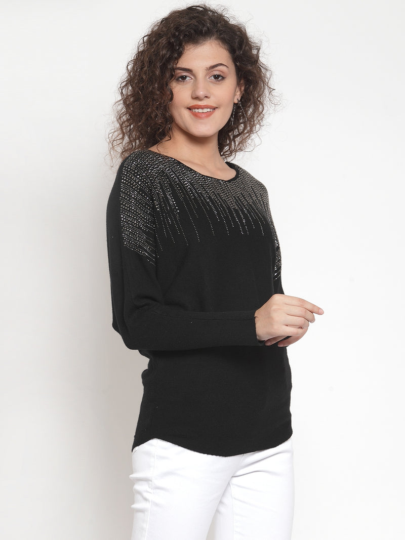 Women Black Solid Embellished Pullover Sweater