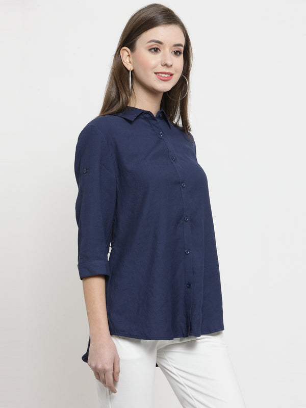 Women Navy Blue Solid Cotton Shirt