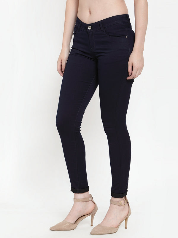 Women Navy Blue Denim Solid Jeans
