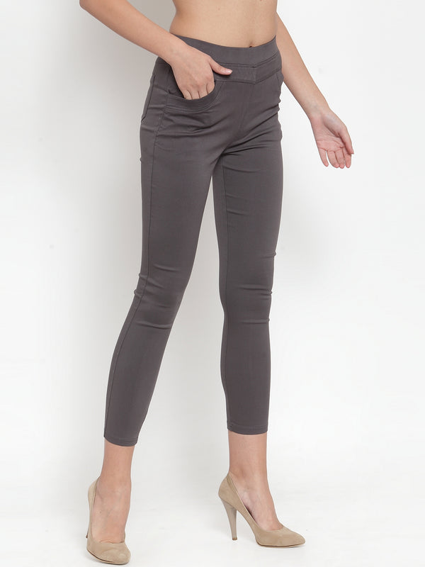 Women Plain Grey Mid-Rise Jegging
