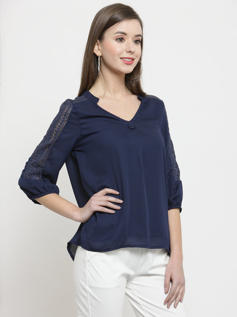 Women Navy Mandarin Collar Top With Lace Details