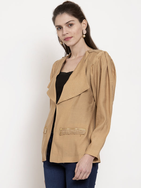 Ladies Brown Solid Collared Coat