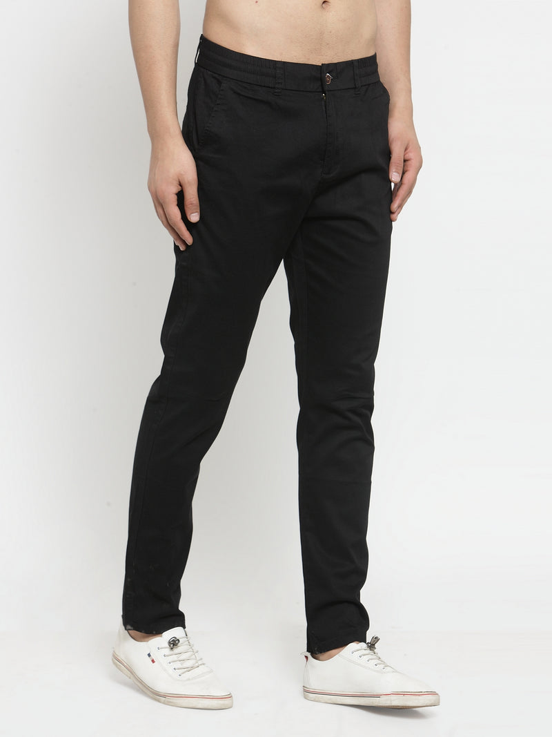 Mens Black Solid Regular Fit Trouser
