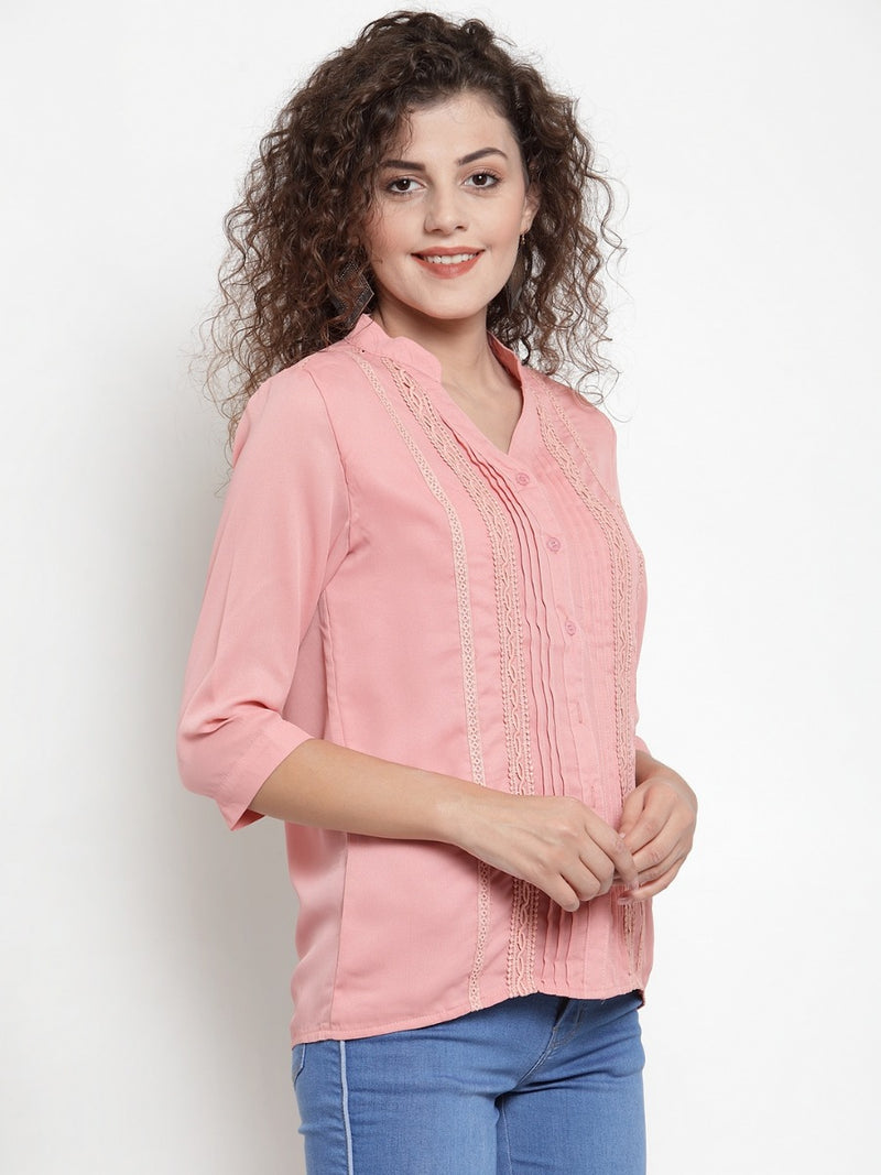 Women Peach Mandarin Collar Top With Pin-Tucks