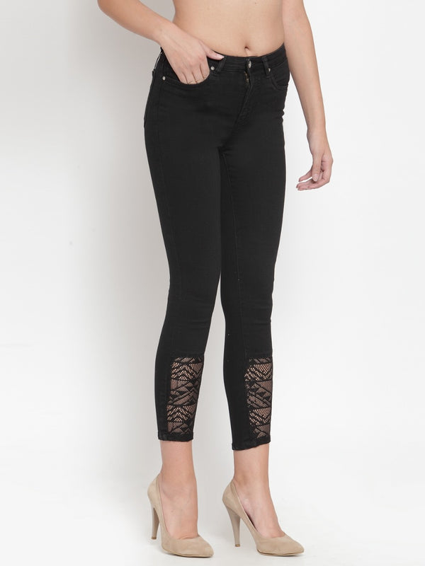 Women Black Denim Jeans With Lace