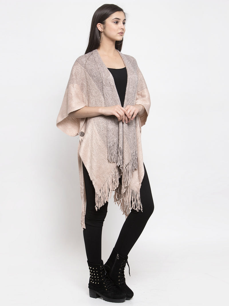 Women Peach-Coloured & Grey Striped Shimmer Longline Open Front Shrug
