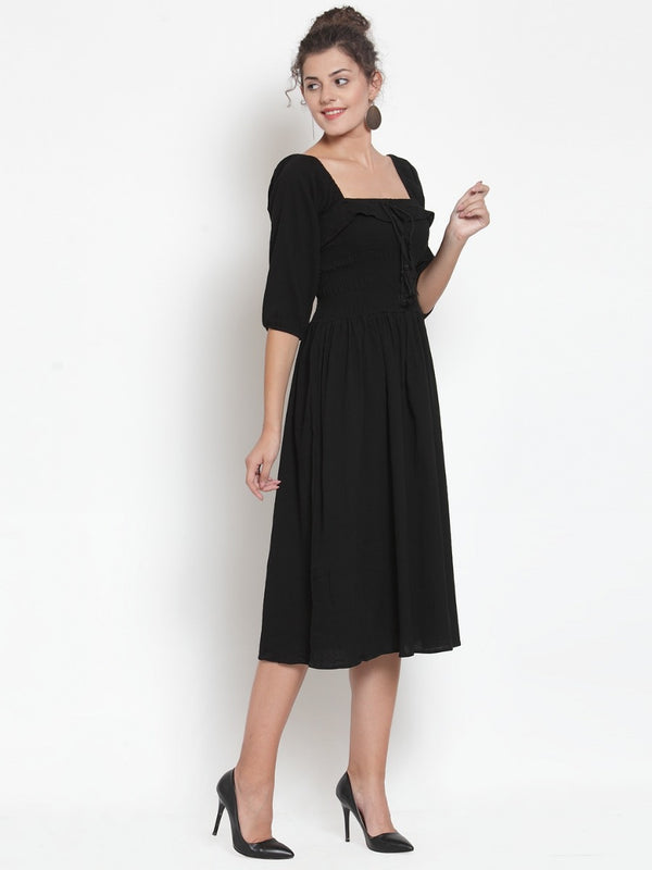 Women Black Square Neck Dress