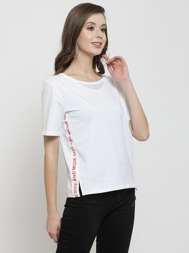 Women White Solid Round Neck Regular Fit Tops