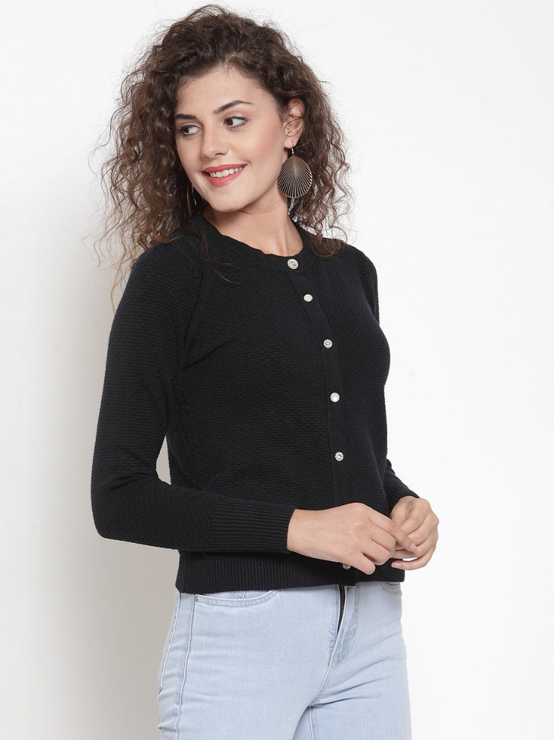 Women Solid Black Round Neck Fitted Cardigan