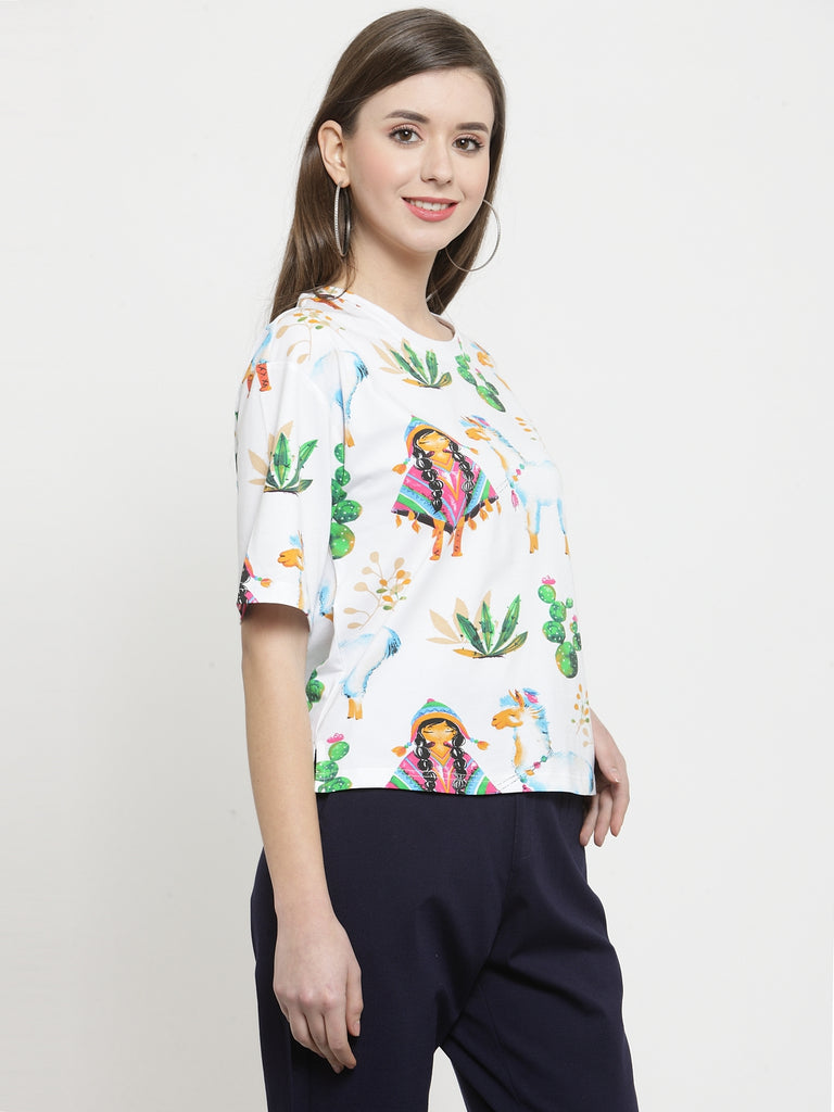 Women Printed White Round Neck Top