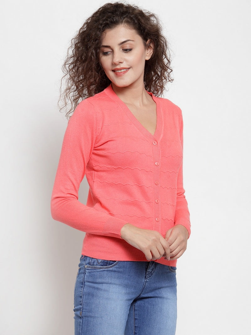 Women Coral Pink Solid Basic Cardigan