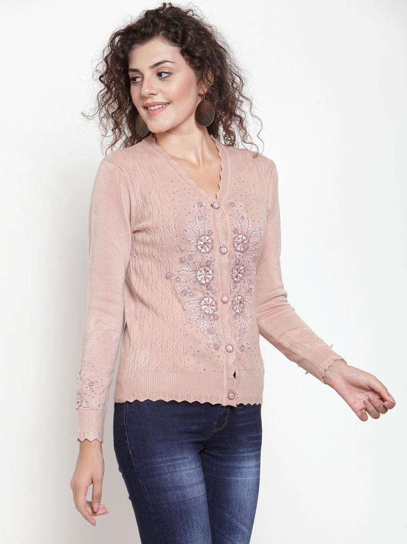 Women Beige V-Neck Embroidered Cardigan