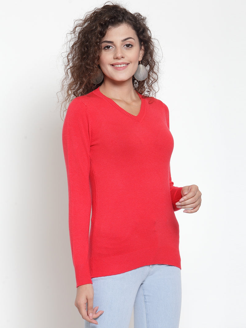 Women Red V-Neck Full Sleeve Skeevi Pullover