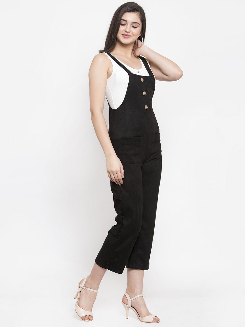 Women Black Suede Solid Dungaree