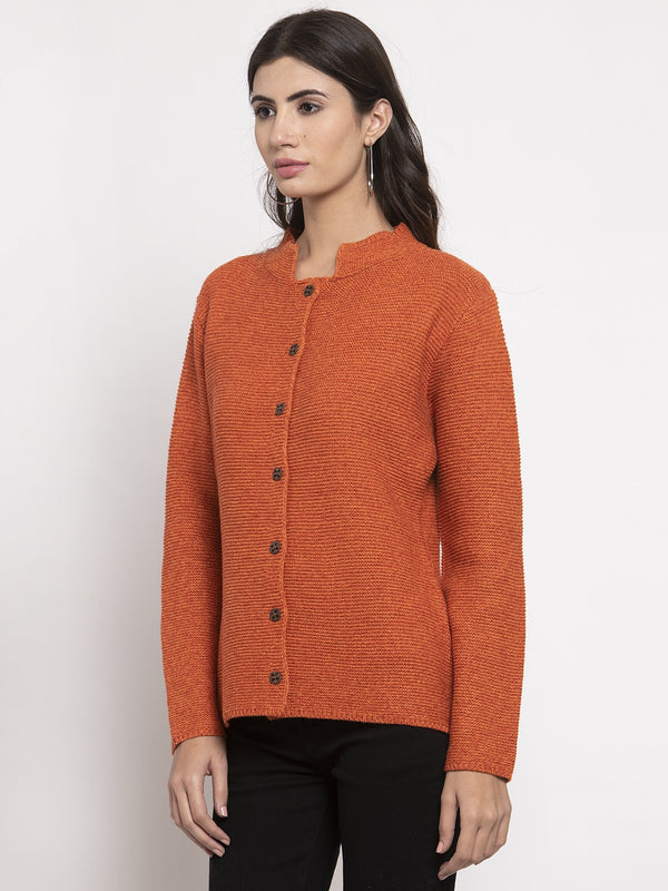 Women Orange Long Sleeves Solid Cardigan