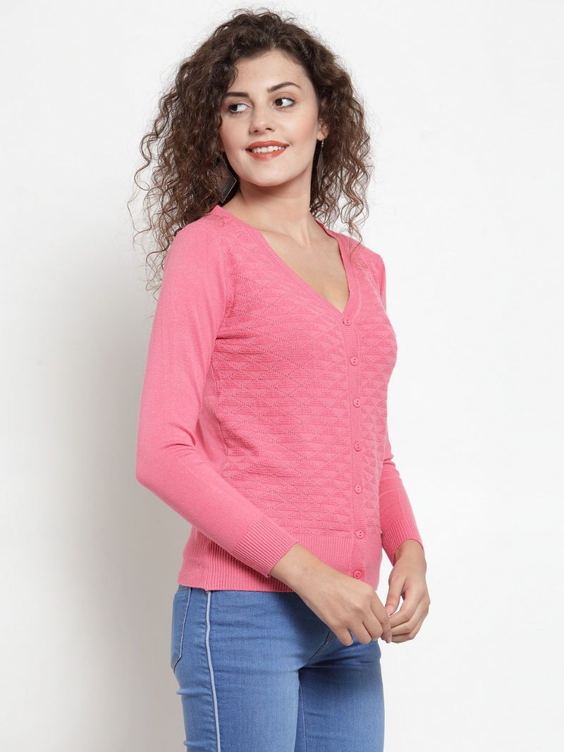 Women Solid Rose Pink Knitted  V-Neck Cardigan