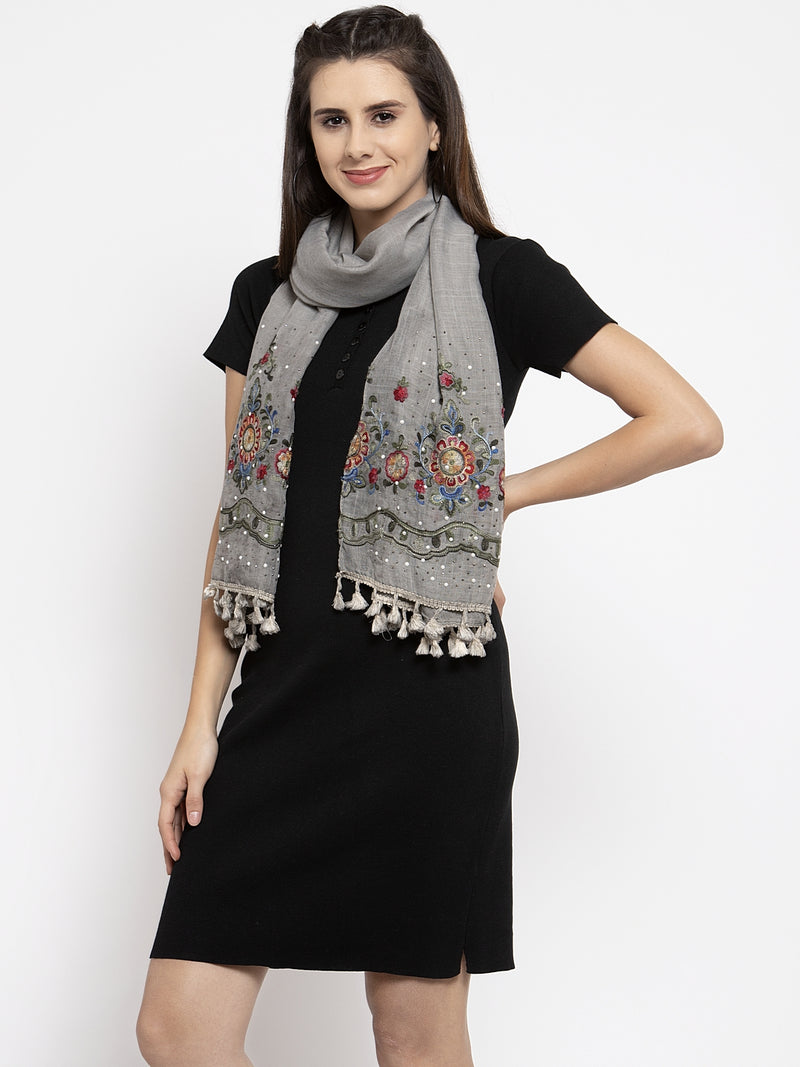Women Embroidered Grey Cotton Stole