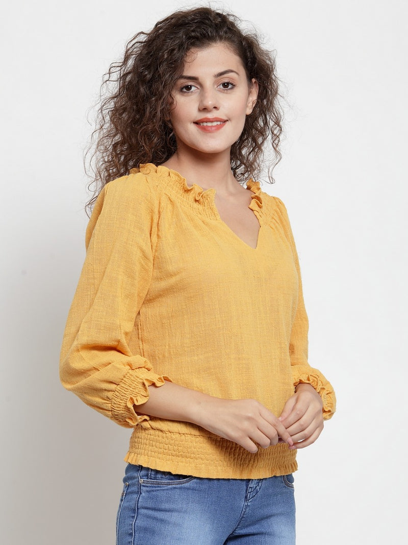 Women Solid Mustard V -Neck Top With Smocking