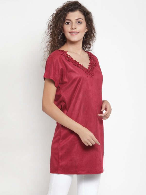 Women Solid Maroon V-Neck Tunic