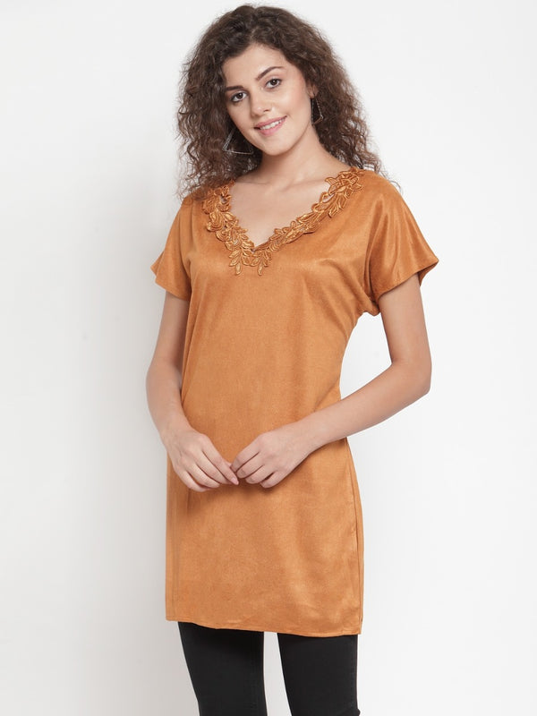 Women Solid Brown V-Neck Tunic