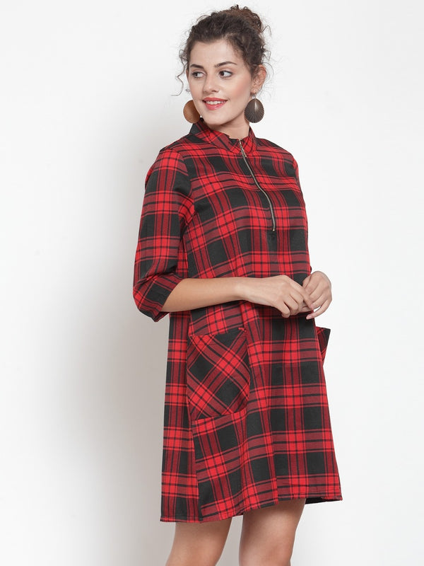 Women Checked Red Tunic
