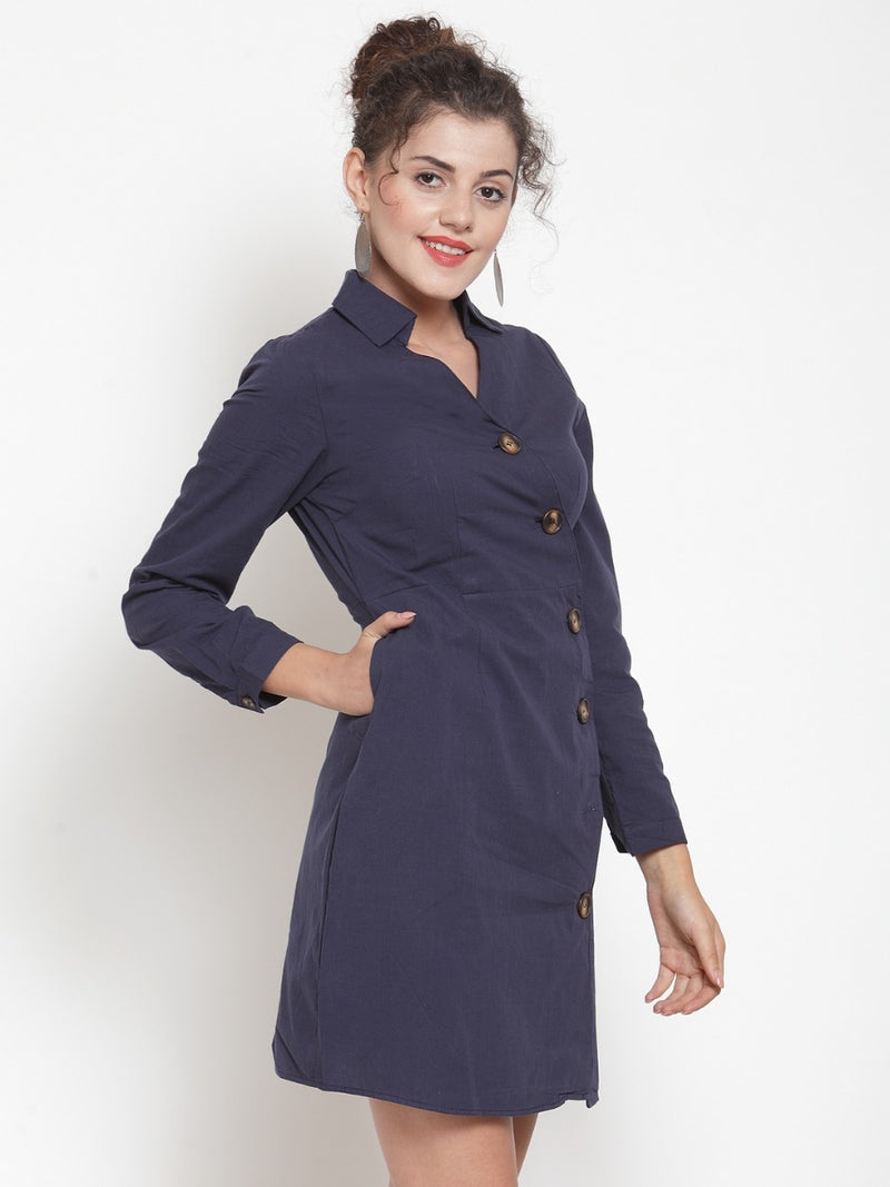 Women Solid Navy Blue Shirt Collar Tunic