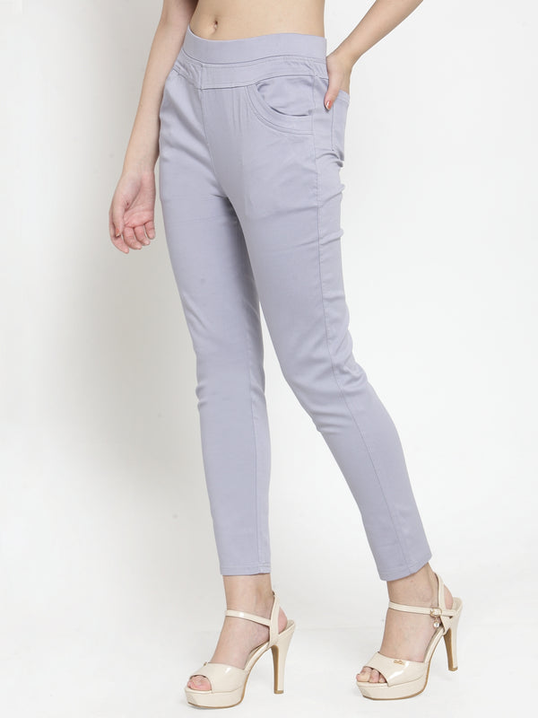 Women Solid Grey Polyester Jegging