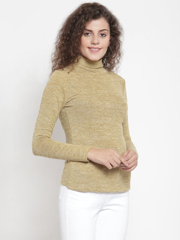 Women Solid Gold Round Neck Top