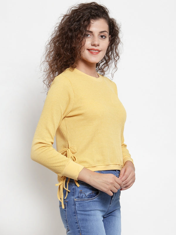 Women Solid Mustard Round Neck Sweatshirt