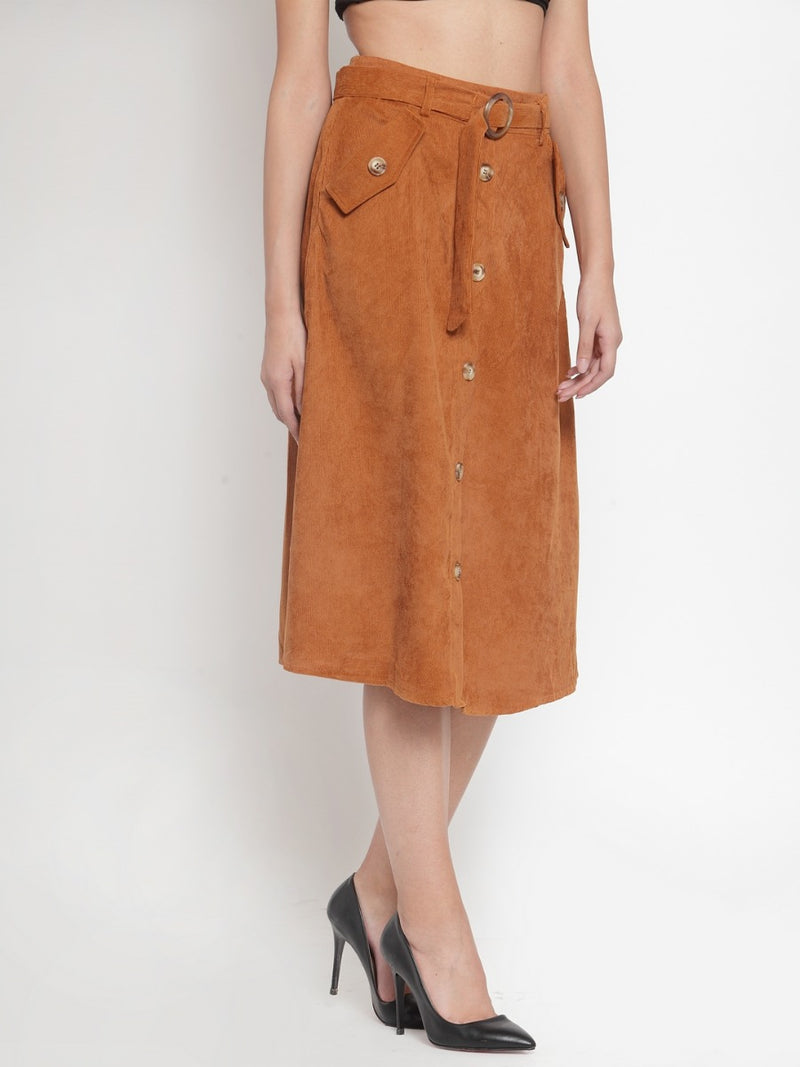 Women Solid Tan Cord Fabric Skirt