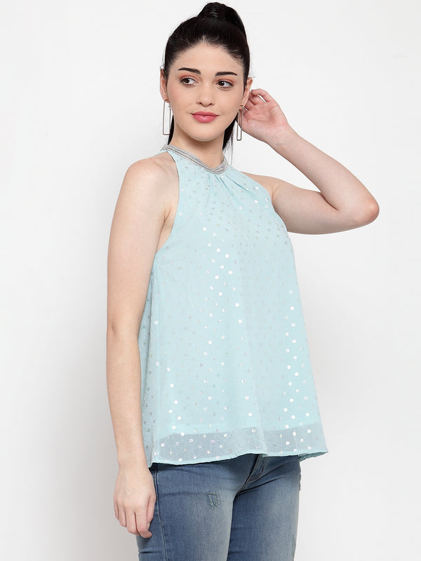 Women Green Embellished Halter Neck Top