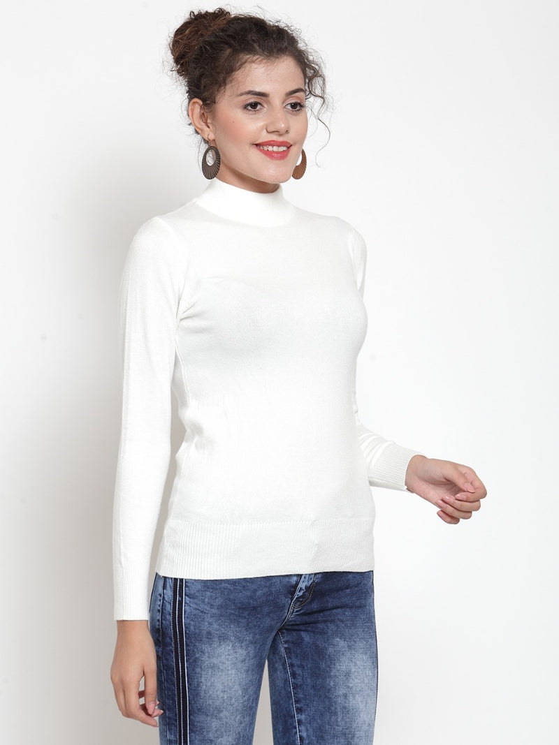 Women Solid Off White Turtle Neck Skeevi