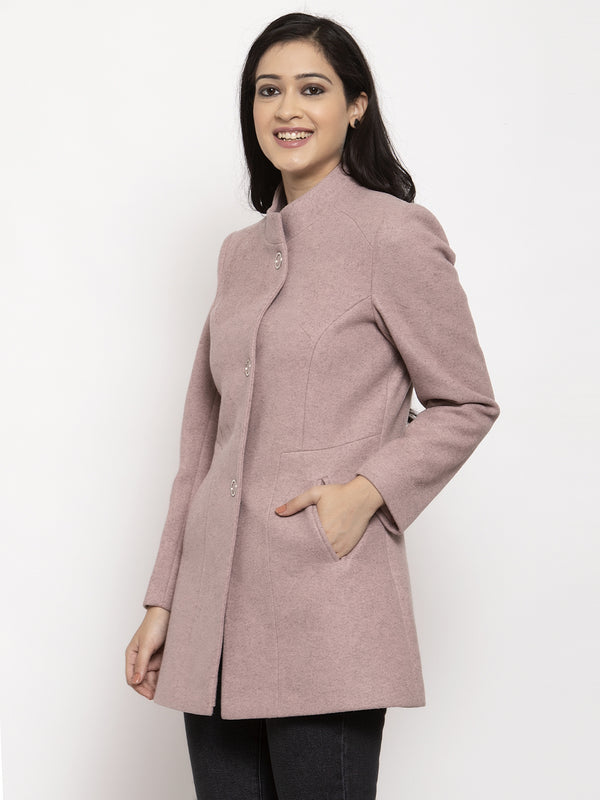 Women Pink Long Sleeves Solid Coat