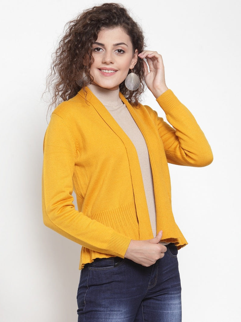 Women Solid Mustard Solid Shrug