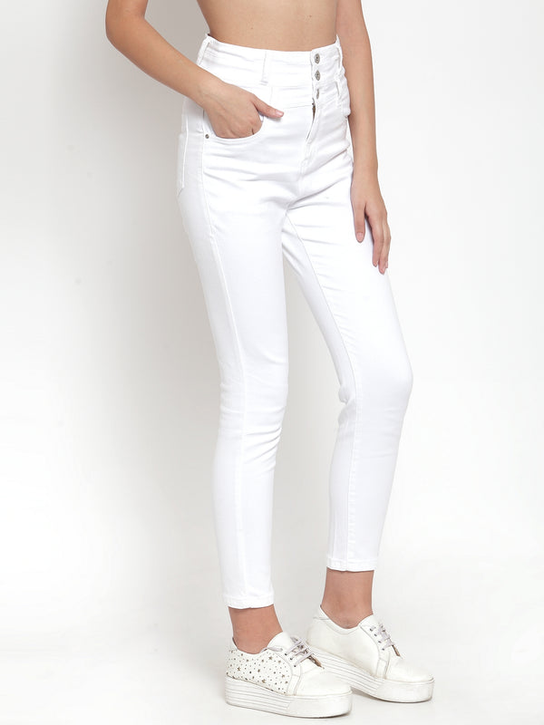 Women White Denim Solid Jeans