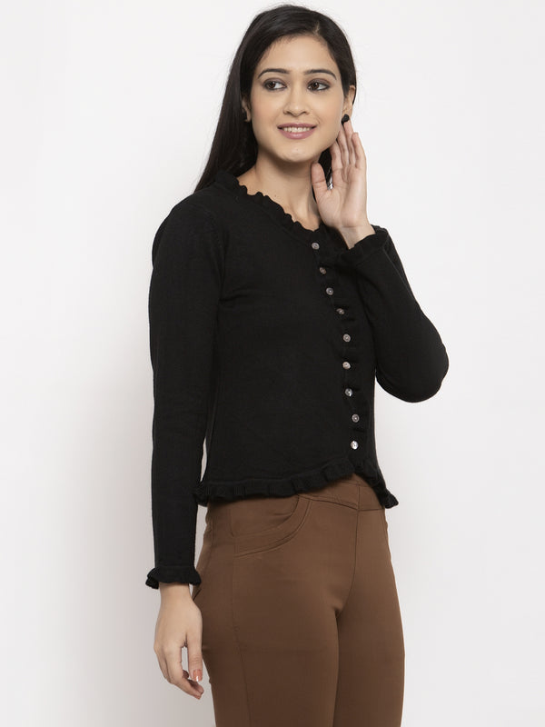 Women Black Solid V-Neck Cardigan