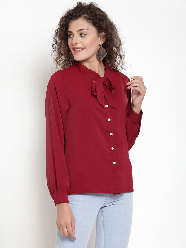 Women Maroon Shirt Blouse With Neck Tie