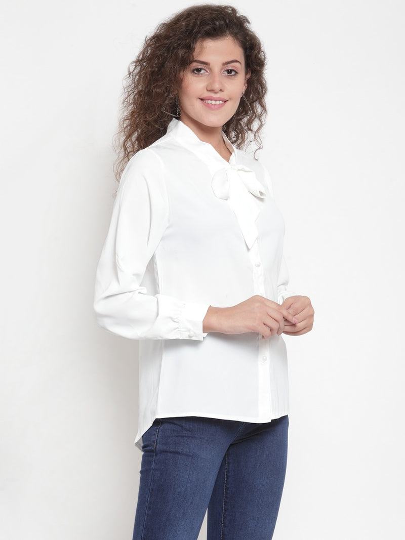 Women White Shirt Blouse With Neck Tie