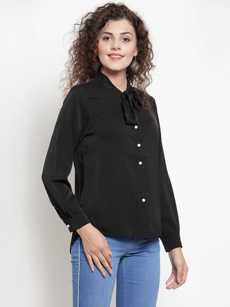 Women Black Shirt Blouse With Neck Tie