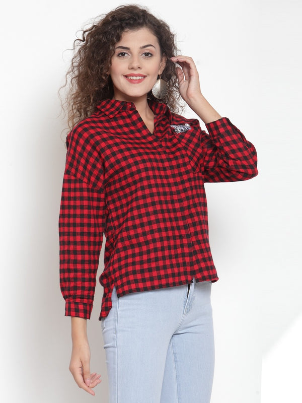 Women Red Checked Shirt With Embroidered Cat