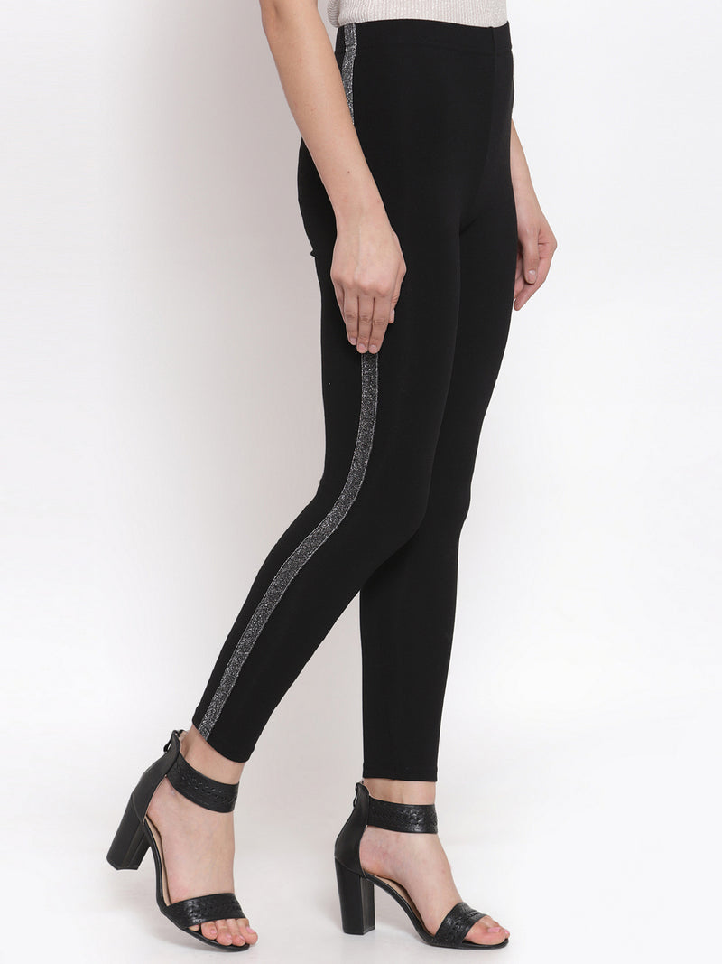 Women Solid Black Polyester Legging