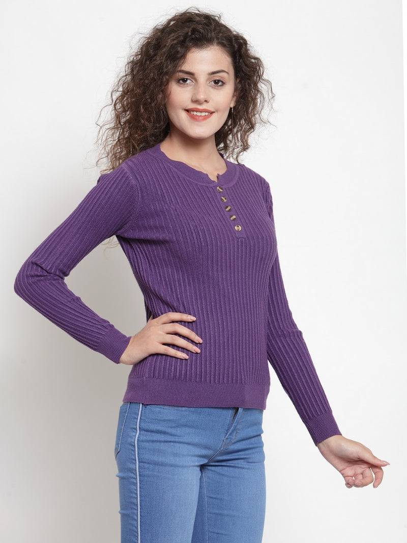 Women Solid Purple Round Neck Pullover