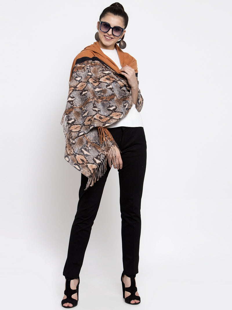 Women Rust Animal Printed Winter Stole