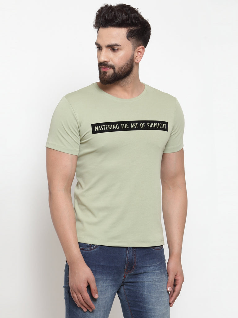Mens Green Hosiery Solid T-Shirt