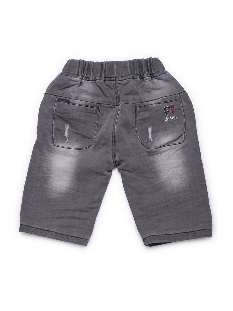 Kids Grey Washed Denim Shorts With Rip Detail