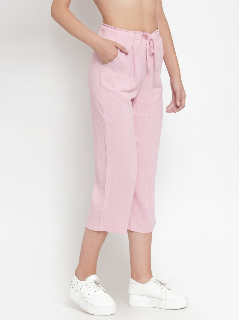 Women Pink Solid Straight Fit Lower
