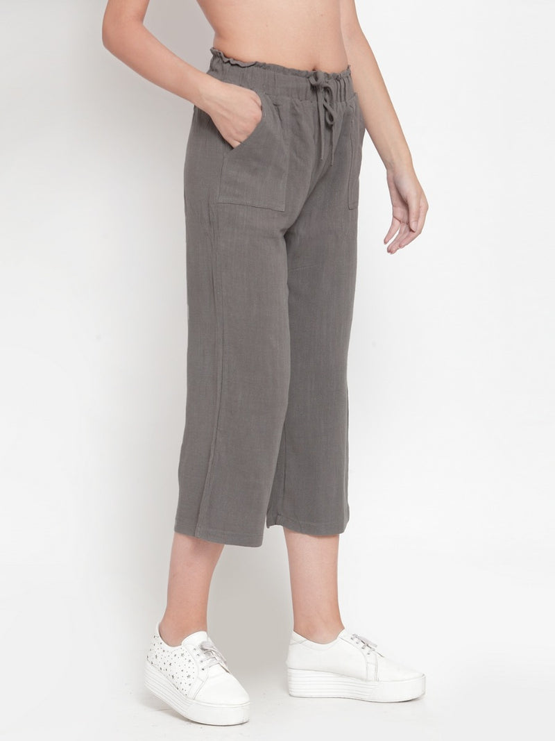 Women Olive Solid Straight Fit Lower